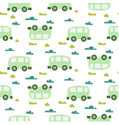 Car cute baby green scandinavian seamless vector