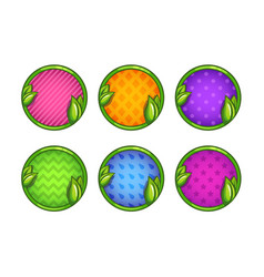Cartoon colorful round buttons set vector