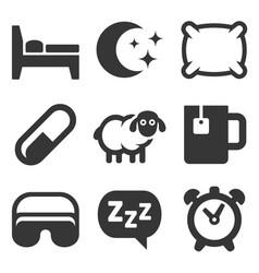sleeping icons set on white background vector image