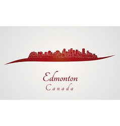 Edmonton skyline in red vector
