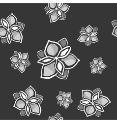 Magnolia seamless monochrome pattern on dark vector
