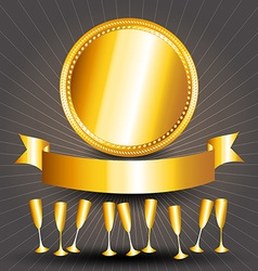 Gold circle sign cups and ribbon banner vector
