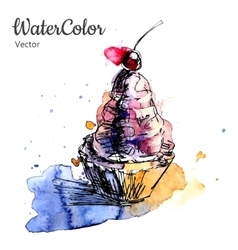 Hand painting watercolor dessert eps10 vector