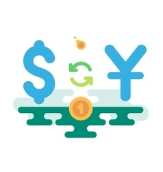 Dollar yuan currency exchange vector