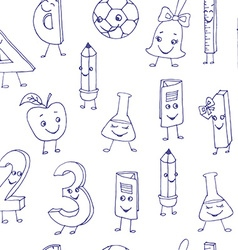 Hand drawn cute school characters on a sheet of vector