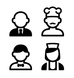 Hotel and restaurant staff icons set vector