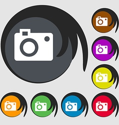 Camera icon symbols on eight colored buttons vector