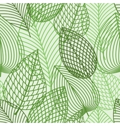 Seamless pattern of spring outline reen leaves vector