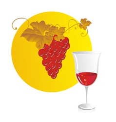 Red wine and grapes vector image