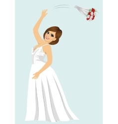 Young bride woman throwing rose bouquet vector