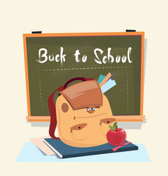 Back to school backpack over class board education vector