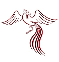 Black and red graceful firebird contour vector