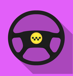 black wheel with yellow emblem of taxi the vector image vector image