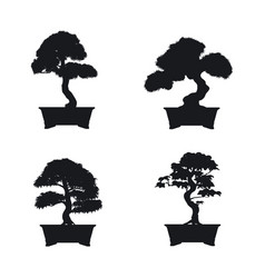 bonsai set black silhouette of bonsai vector image vector image