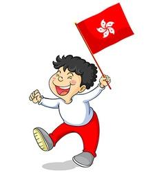 Boy holding flag of hongkong vector