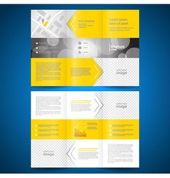 brochure folder leaflet arrow line yellow vector image vector image