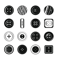 clothes button icons set simple style vector image