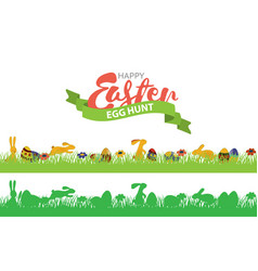 Easter seamless border with rabbits grass and vector
