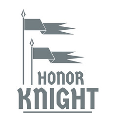 Flag knight logo simple gray style vector