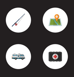 flat icons location fishing fist aid and other vector image vector image
