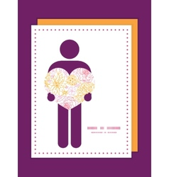 Flowers outlined man in love silhouette vector