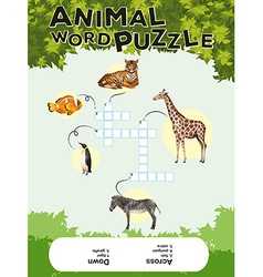 Game template for animal word puzzle with keys vector image vector image