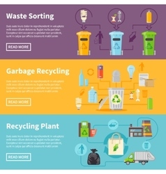 Garbage Recycling Banners Set vector image vector image