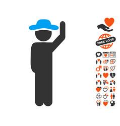 Gentleman hello icon with valentine bonus vector