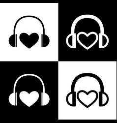 Headphones with heart black and white vector