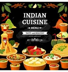 Indian cuisine menu black board poster vector
