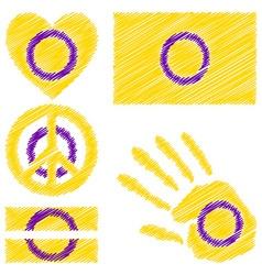 Intersex pride design elements vector