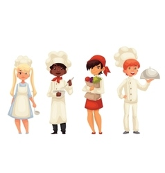 Isolated cartoon children chefs in hats and vector image