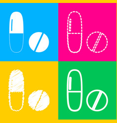 medical pills sign four styles of icon on four vector image vector image