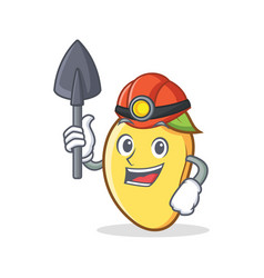 Miner mango character cartoon mascot vector