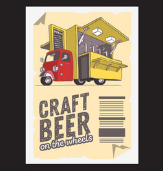 Mobile craft beer pop up vehicle for catering and vector