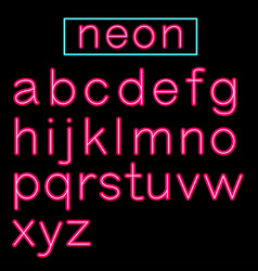 pink glowing neon bar alphabet on black background vector image vector image