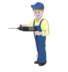 Repairman or handyman standing with a perforator vector