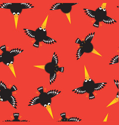Seamless pattern with funny crow vector