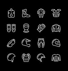 Set line icons of motorcycle equipment vector
