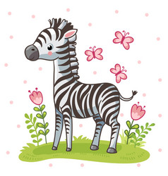 striped cute zebra is standing on the green meadow vector image