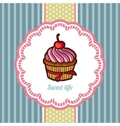 Tasty cake in retro style vector