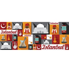 Travel and tourism icons istanbul vector