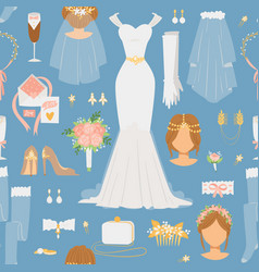 Wedding cartoon bride icons seamless vector