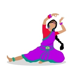 Woman in indian national clothes dance vector