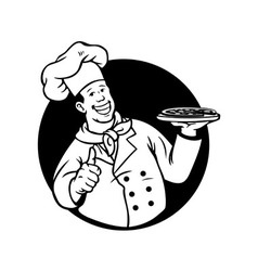 Chef Cooking Pizza Black White vector image