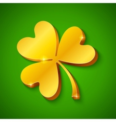 Golden clover on the green background vector image