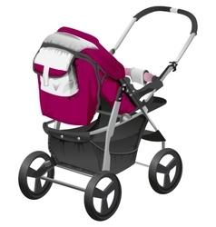 Modern comfortable baby carriage vector