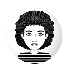 Sphere half body woman with curly hair vector