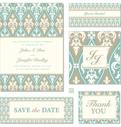 Victorian wedding invitation set vector