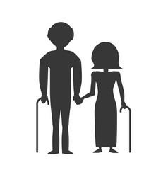 Pictogram couple elderly cane vector